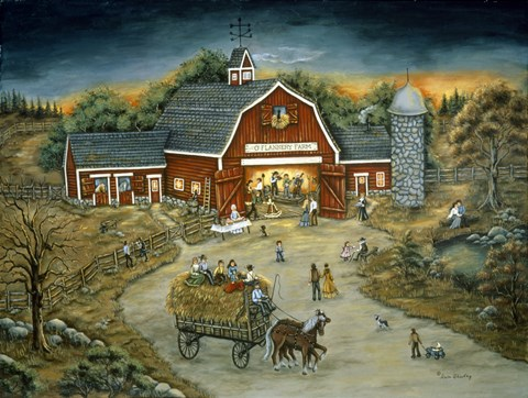 Framed Barn Dance At O'Flannery Farm Print