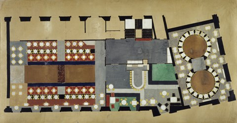 Framed Plan For A Bus Station: Design For The First Floor, 1927 Print