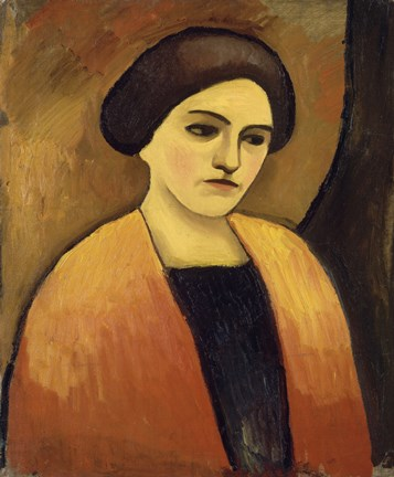Framed Head Of A Woman In Orange And Brown (Portrait Of The Artist'S Wife),  c.  1911 Print