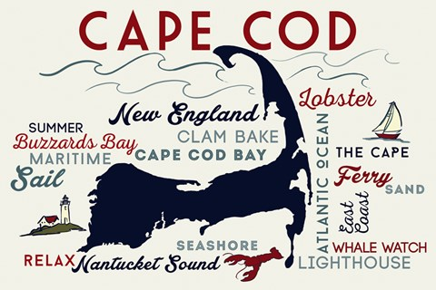 Framed Cape Cod New England Text Print