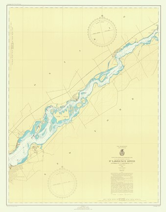 Framed St. Lawrence River Map Print