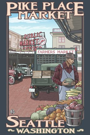 Framed Pine Place Market Seattle Print