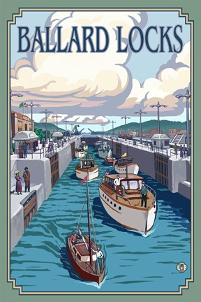 Framed Ballard Locks Boat Ad Print