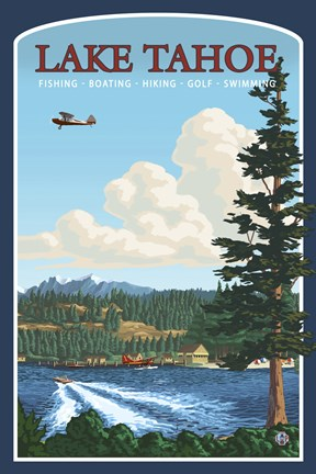 Framed Lake Tahoe Fishing Boating Print