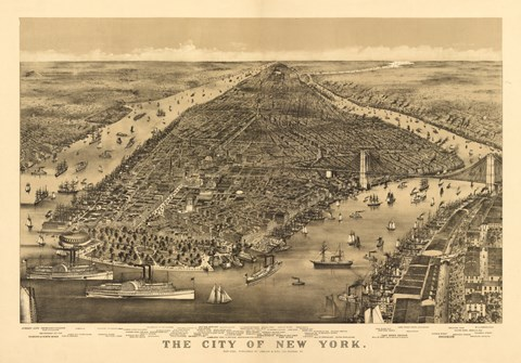 Framed City of New York Map Print