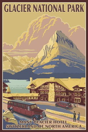 Glacier National Park Ad Fine Art Print By Lantern Press