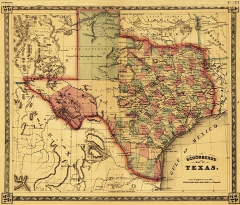 Framed Map of Texas Print