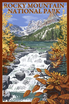 Framed Rocky Mountain Park Waterfall Ad Print