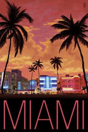 Miami City Palms Scene Fine Art Print By Lantern Press At