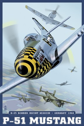 Framed P-51 Mustang Airplane Ad Print