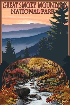 Framed Great Smoky Mountains Fall Park Print