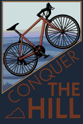 Framed Conquer The Hill Bicycle Ad Print