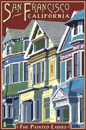 Framed Painted Ladies California Ad Print