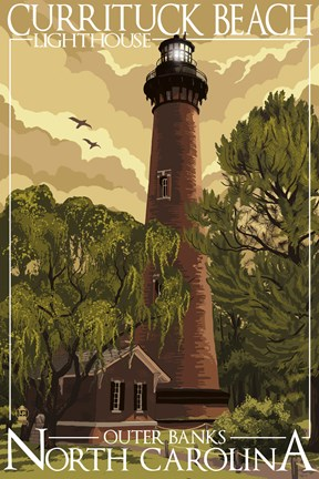 Framed Currituck Beach Lighthouse Carolina Print