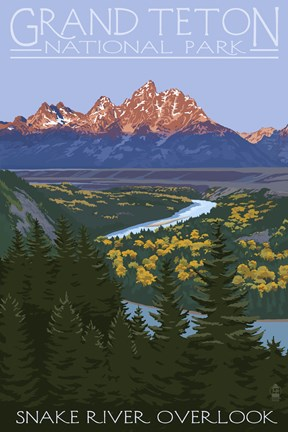 Framed Snake River Grand Teton Park Print