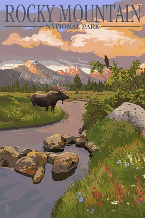 Framed Rocky Mountain Park Moose Print