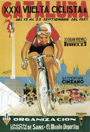 Framed Vuelta Ciclista XXXVI Cataluna Bicycle Print