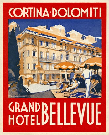Framed Cortina-Dolomiti, Grand Hotel Bellevue Print