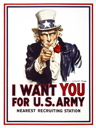 Framed I Want You For U.S. Army Print