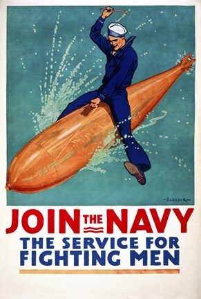 Framed Join the Navy, the Service for Fighting Men Print