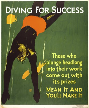 Framed Diving for Success Print