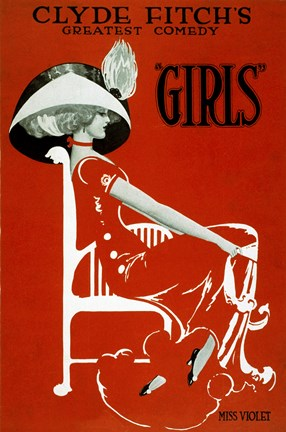 "Framed Clyde Fitch's Greatest Comedy, """"Girls"""" Print"