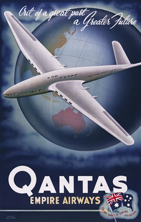 Framed Quantas Empire Airways Print