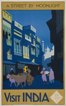 Framed Street by Moonlight - Visit India Print