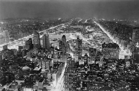 Framed Aerial View of New York City, at Night Print