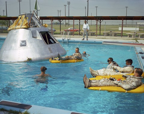 Framed Apollo 1 Astronauts Working by the Pool Print