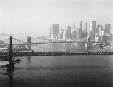 Framed Brooklyn Bridge and Manhattan Bridge Aerial Print