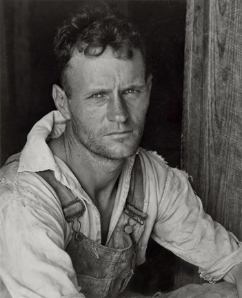 Framed Floyd Burroughs, Sharecropper, By Walker Evans Print