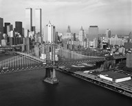 Manhattan Bridge with Twin Towers behind  Fine Art Print