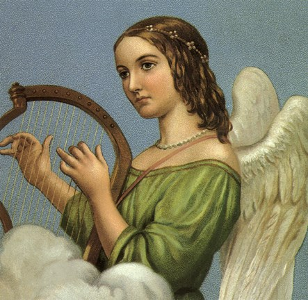 Framed Angel With Harp Print