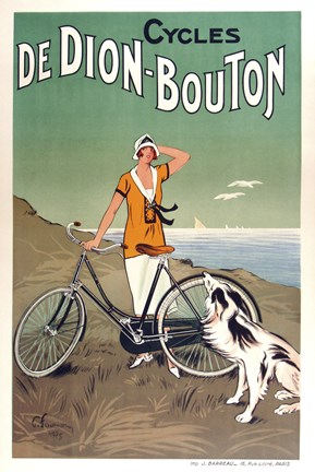 Framed Cycles De Dion Bouton Print