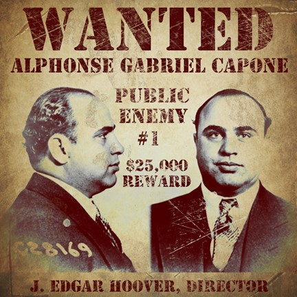 Framed Al Capone Wanted Poster Print