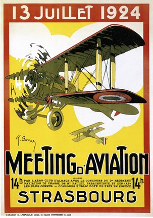 Framed Strasbourg Aviation Print