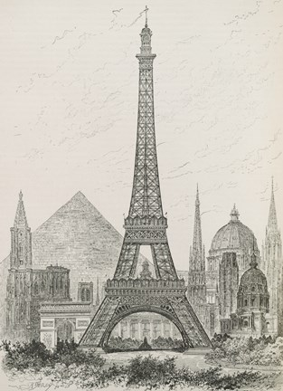 Framed La Tour Eiffel - Hauteur Comparee Print