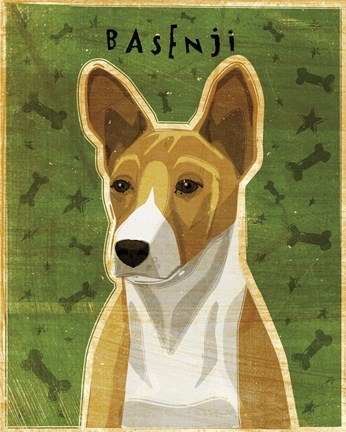Framed Basenji - Red Print