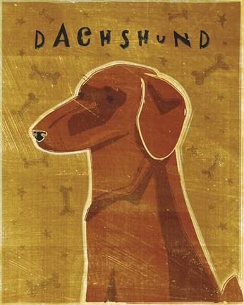 Framed Dachshund (red) Print