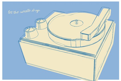 Framed Lunastrella Record Player Print