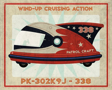 Framed Patrol Craft 338 Box Art Tin Toy Print