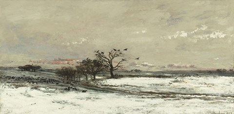 Framed Landscape With Snow And Setting Sun, 1873 Print