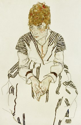 Framed Artist's Sister-in-Law in Striped Dress, Seated, 1917 Print