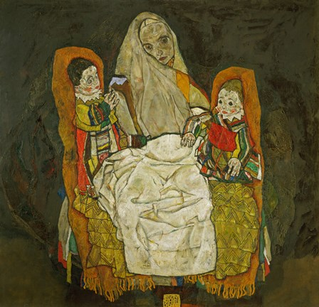 Framed Mother With Two Children, 1915 Print