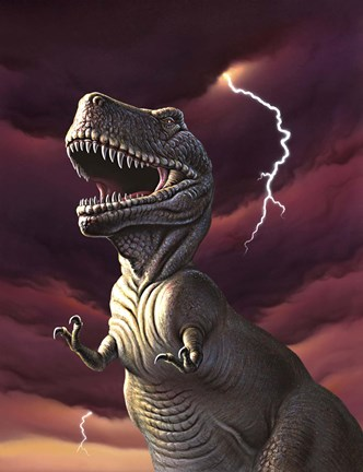 Framed Tyrannosaurus Rex in a Storm Print
