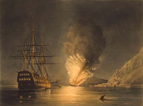 Framed Explosion of the US Steam Frigate Missouri Print