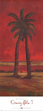 Framed Crimson Palm I Print