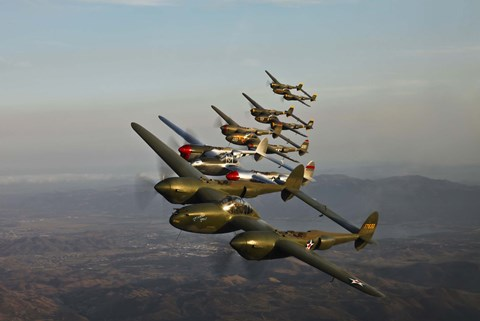 Framed Five Lockheed P-38 Lightnings Print