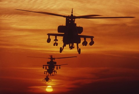 Framed Four AH-64 Apache Helicopters Print